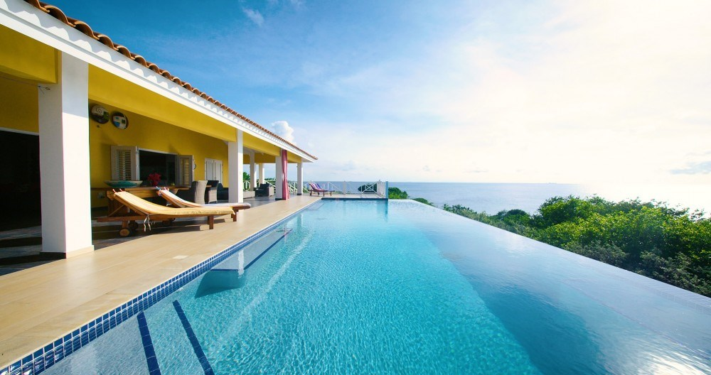 RE/MAX real estate, Curacao, Blue Bay Golf & Beach Resort, Oceanfront villa for sale on golf course with pool and ocean view