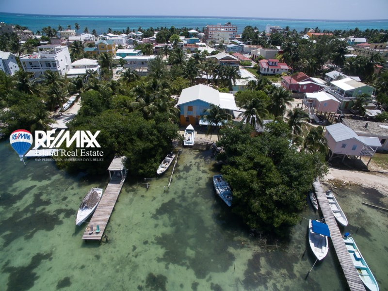 Remax real estate, Belize, Caye Caulker, Western Waterfront:  Two Combined Parcels in Village Center
