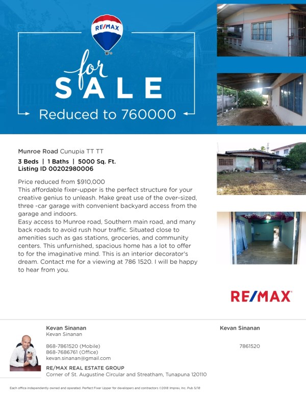 RE/MAX real estate, Trinidad and Tobago, Cunupia, Fixer upper / Flip property Munroe Road Cunupia House and Land