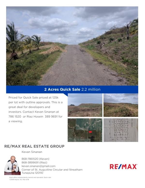 RE/MAX real estate, Trinidad and Tobago, Marabella, Quick Sale  priced at 125k per lot.