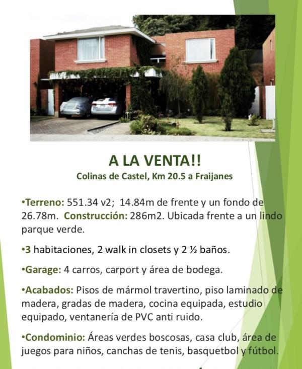 Remax real estate, Guatemala, Fraijanes, Residencia en Colinas de Castel, CES