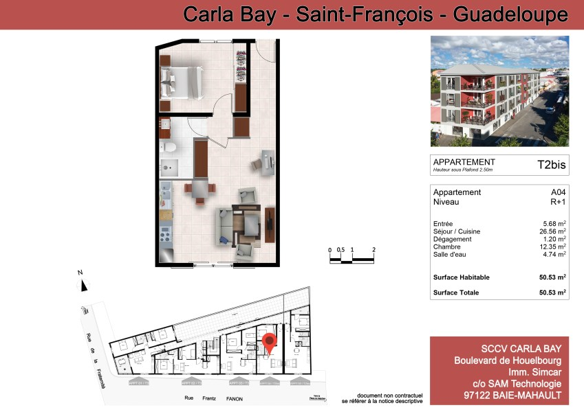 RE/MAX real estate, Guadeloupe, Saint-François, Carla Bay - T2 neuf - Centre ville Saint-François
