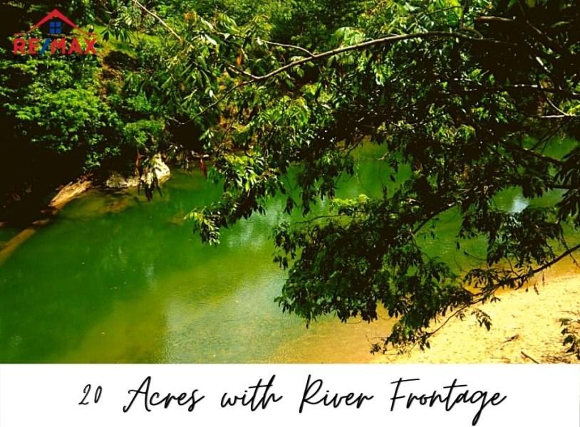 Remax real estate, Belize, Gracy Rock Bank, #1510 - 20 Acres with Sibun River Frontage near Gracie Rock Village