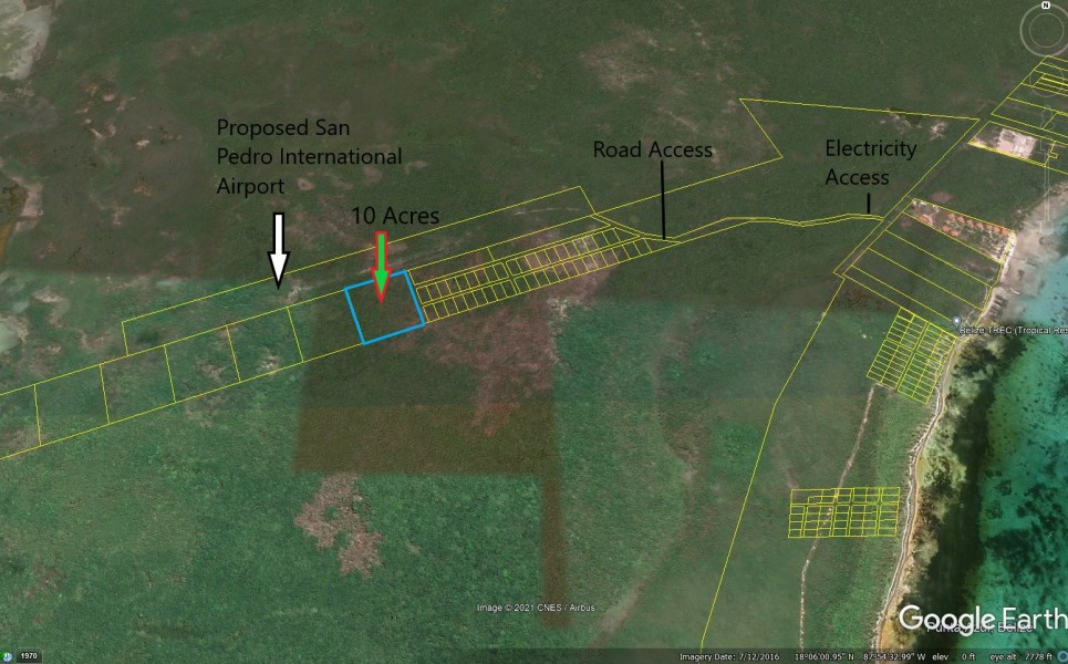 RE/MAX real estate, Belize, Ambergris Caye, 10.02 Acres Commercial Property in front of the Proposed San Pedro International Airport