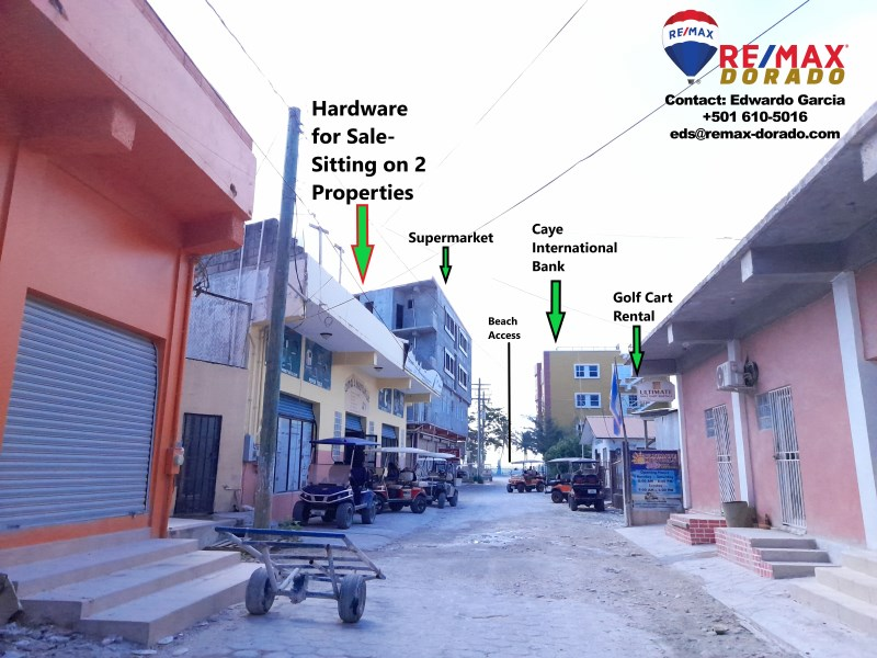 Remax real estate, Belize, Ambergris Caye, Building for Sale - Amal's Hardware at San Pedro Ambergris Caye, Belize