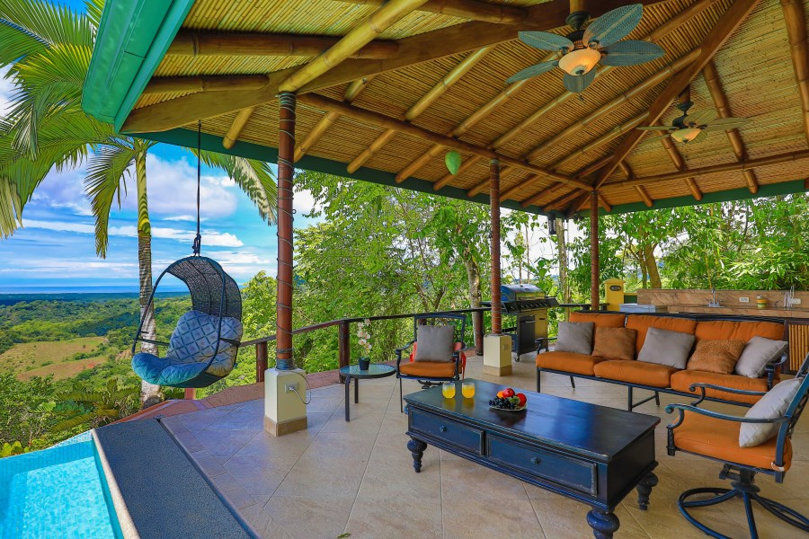 Remax real estate, Costa Rica, Tres Rios, SETTING THE STAGE...main home, guest home, 2 swimming pools, OCEAN views with SUNSETS.